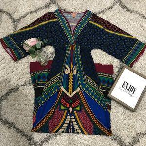 FLYING TOMATO boho/kimono multi colored maxi dress